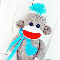 Personalized Traditional Sock Monkey Doll, Choose Your Color