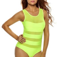 Lime Mirage Mesh Insert One-Piece Swimsuit