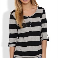 Three-Quarter Sleeve Striped Henley Top with Button Front - Clearance