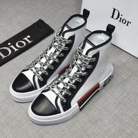 Dior Men's Leather Fashion High Top Sneakers Shoes-KUYOU