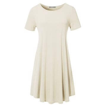 Basic Short Sleeve Round Neck Casual Loose T Shirt Dress with Stretch (CLEARANCE)