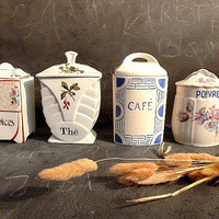 French Antique kitchen box .Kitchen canisters set .French kitchen decor .Storage .Instant collection