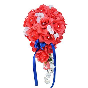 Cascade Wedding Bouquet - Coral Roses with Hydrangea Accents - *Pick Ribbon Color*