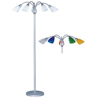 5-Light Adjustable Arm Floor Lamp In Silver With White & Color Shades