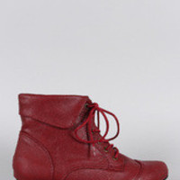 Women's Breckelle Pointy Toe Lace Up Booties