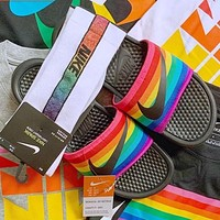 "Nike Benassi Just Do It Rainbow ""BeTrue"" Slide Couple Casual Beach Slippers Shoes"