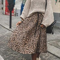 Leopard Print Pleated Skirt Women Streetwear Midi Skirt Elastic High Waist Style Skirt
