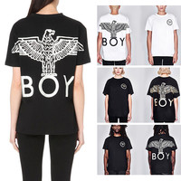"""BOY LONDON"" Fashion Casual Loose Male Female Eagle Letter Print Round Neck Short Sleeve Couple Cotton T-shirt"