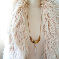 Brass Moon Necklace and Raw Crystal Quartz Point - Boho Luxe - Tribal Jewelry -Sale