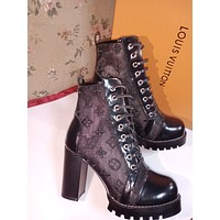 lv louis vuitton trending womens black leather side zip lace up ankle boots shoes high boots 30
