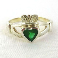 Sterling Silver Irish Claddagh Ring, Vintage Green Topaz Celtic Heart Friendship Jewelry, Birthday, Anniversary Gift, Size 6