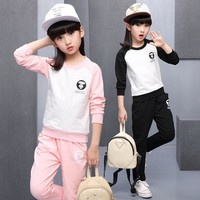 Autumn Kid Clothing Sets Active Pullover Long Sleeve Sportswear Children Girl Cotton Clothes