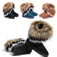 Winter Women  Princess Fringed Fur Warm Mid-Calf Flat Snow Boots 3Color Outdoor