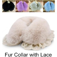 2016 Autumn & Winter Women Scarf Faux Fur Rabbit Collar With Lace Ladie's Fur Shawl Scarves