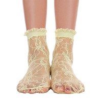 Lace With Ruffle Ankle Socks - Lime