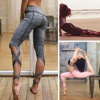Women High Waist Yoga Fitness Leggings Running Gym Stretch Sports Pants Trousers Christmas Gift QD112001