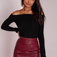Missguided - Bardot Ribbed Top Black