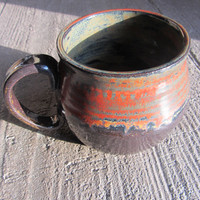 Large Red and Copper Mug