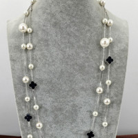 Simple and fashionable pearl long style sweater chain temperament with happy four-leaf clover necklace multi-layer