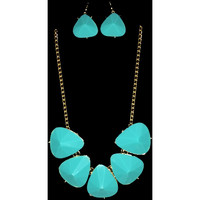 Turquoise Gem Statement Necklace and Earrings Set