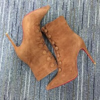 KUYOU Christian Louboutin red sole classic rivet Roller Boat CL high heel boots for women 90515