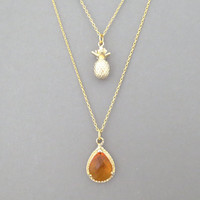 Double layered, Fruit cocktail, Gold, Necklace sete, Pineapple, Orange, Fruit, Salad, Necklace, Layering, Multi strand, Gift, Jewelry