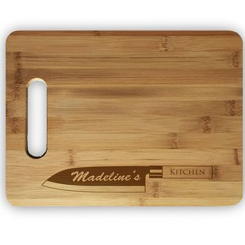 Custom Personalized Laser Engraved Bamboo Cutting Board - Wedding, Housewarming, Anniversary, Birthday, Holiday, Gift