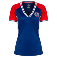 Chicago Cubs Women's Royal, Red, and White Crawl Bear Jersey V-Neck Tee