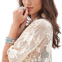 FOREVER 21 Embroidered Floral Kimono Taupe