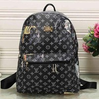 PEAP LV Louis Vuitton Pattern High Quality High Quality Leather Travel Bag Backpack