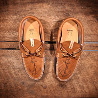 Navy & Brown Leather Boat Shoes with etched ANCHORs  by lovejules