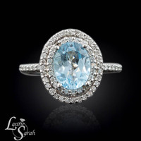 Aquamarine and Diamond Oval Engagement Ring with Double Halo - LS1527