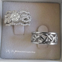 Couples Infinity Knot Wedding Bands Set. Engagement Ring With Wedding Matching Band / 14K gold Semi Mounting and a Wedding Ring/ 14K gold