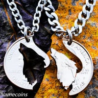 Howling Wolf necklace, His and hers matching Couples jewelry, hand cut coin