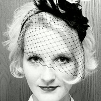Feather and flower VEIL headband. Black and white feathers. Birdcage netting.