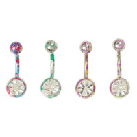 14G Steel Multi Color Splatter Navel Barbell 4 Pack