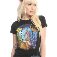 Disney Beauty And The Beast Stained Glass Castle Girls T-Shirt
