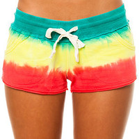 Vans Short Key Dip Dye French Terry in Rasta Red Yellow and Green