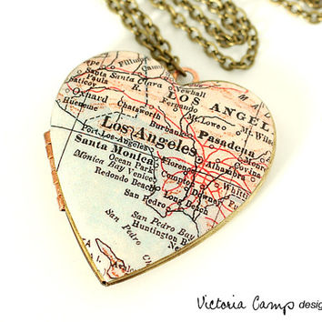 Los Angeles Antique Map Necklace on Large Vintage Heart Locket - California, Santa Monica, Map Jewelry, Gift for Her