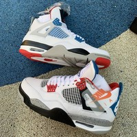 Air Jordan 4 Retro SE White/Mulitrary Blue - Fire Red