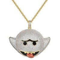 Iced Out Flying Ghost Emoji 14k Gold Finish Pendant
