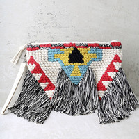 Best of the Fest Black and Cream Fringe Clutch