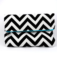 Black and White Chevron Foldover Clutch with Aqua Metallic Zipper, Cute Purse, For Her Under 20, Lined, On the Go