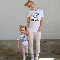Mom and Daughter Blessed t-shirts