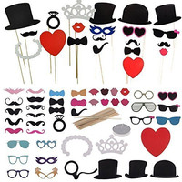 Yosoo 44Pcs Colorful Props On A Stick Funny Masks Photo Booth Props Mustache Decorate Fun Wedding Christmas Birthday Favor Diy Kit