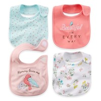Carter's® 4-Pack Bibs in Pink/Coral/Floral