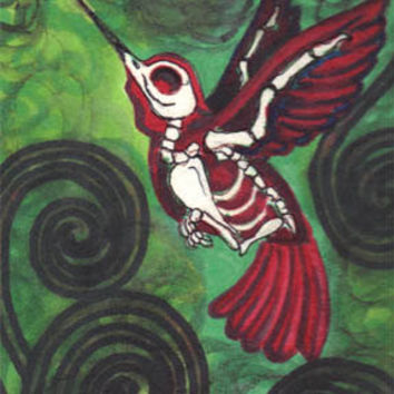 "Skeleton Humming Bird ""Last Flights"" 6x9 stretched canvas"