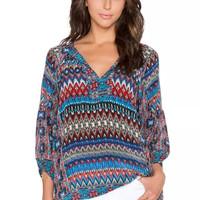 Geometric Print Tie-Neck Sleeve Shirt