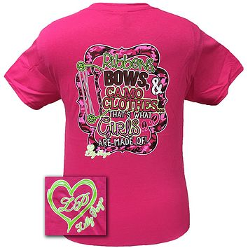 Bjaxx Lilly Paige Country Girlie Ribbons Bows Camo Clothes Heart Southern Girlie Bright T Shirt