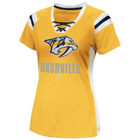 Majestic Nashville Predators Women's Puck Princess Shimmer Top - Gold